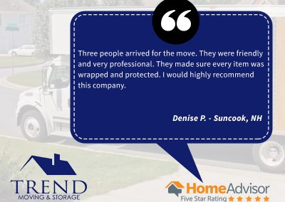 Here is a review from Denise, who was looking for NH moving services near Suncook. Denise found us online and couldn't havce been happier. She appreciated our friendly and professional moving services.